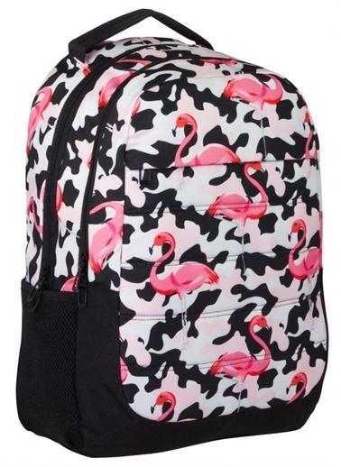 Ümit Çanta Cennec Pembe Flamingo Desenli Üç Bölmeli Okul Sırt Çantası Renkli